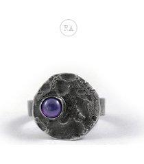 moon srebrny pierścionek z ametystem