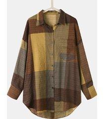camicetta casual a maniche lunghe con bottoni a fessura con stampa scozzese per donna