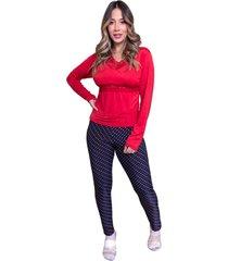 pijama longo nj.mix blusa e calça frio vermelho