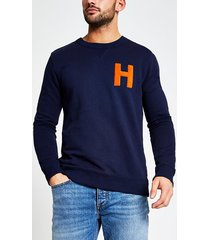 river island mens selected homme navy 'h' sweatshirt