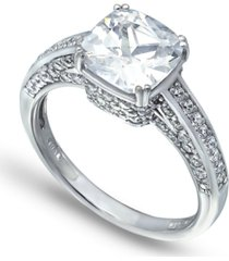 cubic zirconia cushion stone ring with fancy pave gallery in fine silver plate