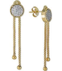 diamond circle cluster chain drop earrings (1/4 ct. t.w.) in 14k gold-plated sterling silver