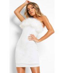 strapless mini bodycon jurk met veren, white