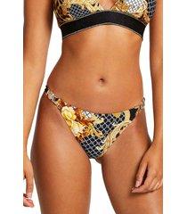 women's river island hardware trim bikini bottoms, size 6 us - black