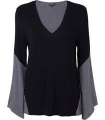 blusa le lis blanc suzanna ii malha preto cinza feminina (preto c/ cinza mescla, gg)