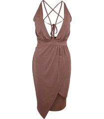 women ladies bodycon deep plunge v neck multiway slinky wrap party dress 8-14