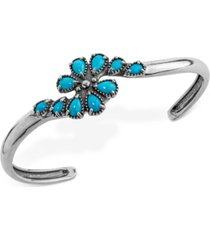 genuine turquoise (2-1/2 ct. t.w.) cluster cuff bracelet in sterling silver