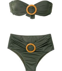 brigitte buckled bandeau bikini set - green