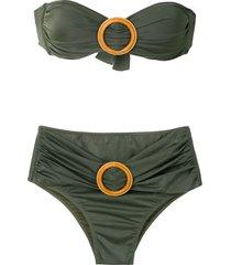 brigitte buckled bandeau bikini set - green