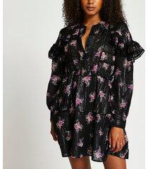 river island womens black long sleeve floral frill dress