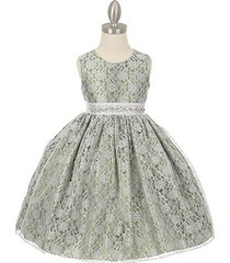 sage two-tone full lace with pearl sequin rhinestone sash flower girl dress