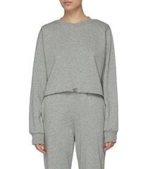 padded shoulder retractable drawstring hem cotton sweatshirt
