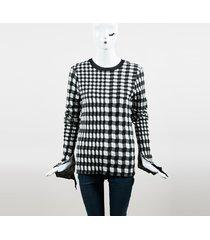 celine black white wool blend checkered long sleeve sweater black/white sz: s