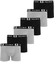 kit 6pçs cueca polo wear boxer logo preta/cinza