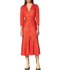 women's sandro floral jacquard long sleeve silk blend dress, size 10 us - red