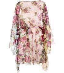 rose print silk chiffon dress