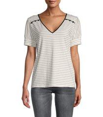 karl lagerfeld paris women's striped cotton-blend top - soft white - size s