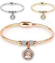 classic tree of life charm bracciale rigido bracciale semplice bracciale donna in oro rosa