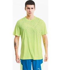 graphic cat hardloop-t-shirt met korte mouwen voor heren, geel, maat l | puma