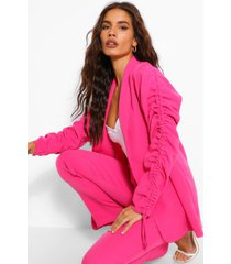 ruched sleeve longline blazer, hot pink