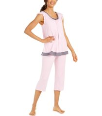 ellen tracy women's striped capri pants pajama set