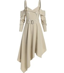 asymmetrical cold shoulder belted casual dress