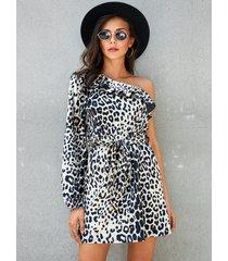 yoins albaricoque aleatorio leopardo cinturón diseño one hombro vestido