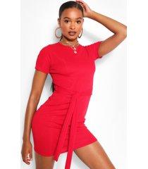 geribbelde midi jurk met strik, rood