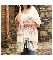 zapotec cotton rebozo shawl, 'morning rose' (mexico)