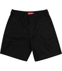 supreme straight-leg work shorts - black