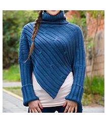 alpaca blend sweater poncho, 'cuzco sky' (peru)