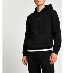 river island mens black ri branded slim fit hoodie