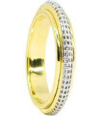 anel kumbayá  venice saturno   semijoia banho de ouro 18k cravaçáo de zircônia  detalhe em ródio - tricae