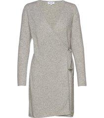 wrap over dress jurk knielengte grijs davida cashmere