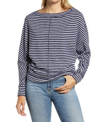 women's caslon bateau neck exposed seam cotton blend top, size x-large - blue