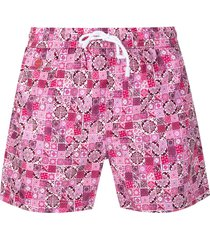 kiton tile-print swim shorts - pink