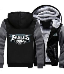 philadelphia eagles hoodie zip up jacket coat winter warm black and gray