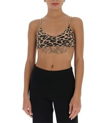knitted leopard-print bralette