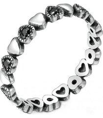 anillo corazones negros apilable arany joyas