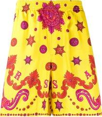 versace baroque western silk swim shorts - yellow