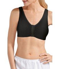 women's amoena frances soft cup cotton leisure bra, size xx-large c/d - black