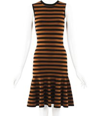 michael kors collection striped knit drop waist dress black/brown sz: xs