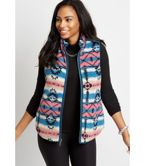 maurices womens blue printed reversible sherpa zip up vest
