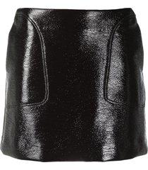 courrèges logo faux leather mini skirt - brown