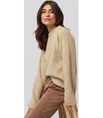 na-kd trend alpaca wool blend round neck sweater - beige
