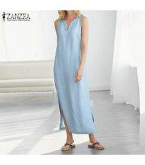 zanzea vestido sin mangas sin mangas para mujer vestido midi con escote alto vestido camisero largo con hombros descubiertos -azul
