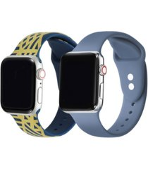 men's and women's geometric atlantic blue 2 piece silicone band for apple watch 42mm
