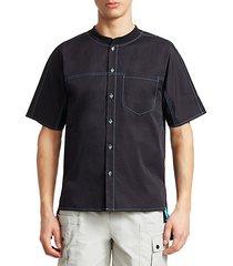 baseball collar short-sleeve shirt