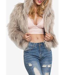 cappotto con cappuccio a maniche lunghe in pelliccia sintetica invernale a maniche lunghe