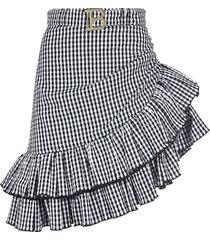 balmain asymmetric ruffled trim checked skirt